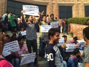 ABVP activists demanding a Sanskrit School